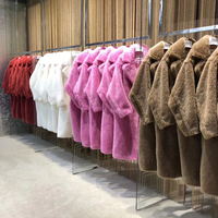 Pink Beige Khaki Brown Women Oversize Teddy Jacket Coat,Plus Size Long Thick Single Button 100% Real Lamb Sheep Lamb Fur Coat