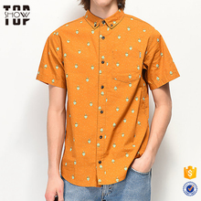 OEM fabriek button up korte mouw custom print heren shirts