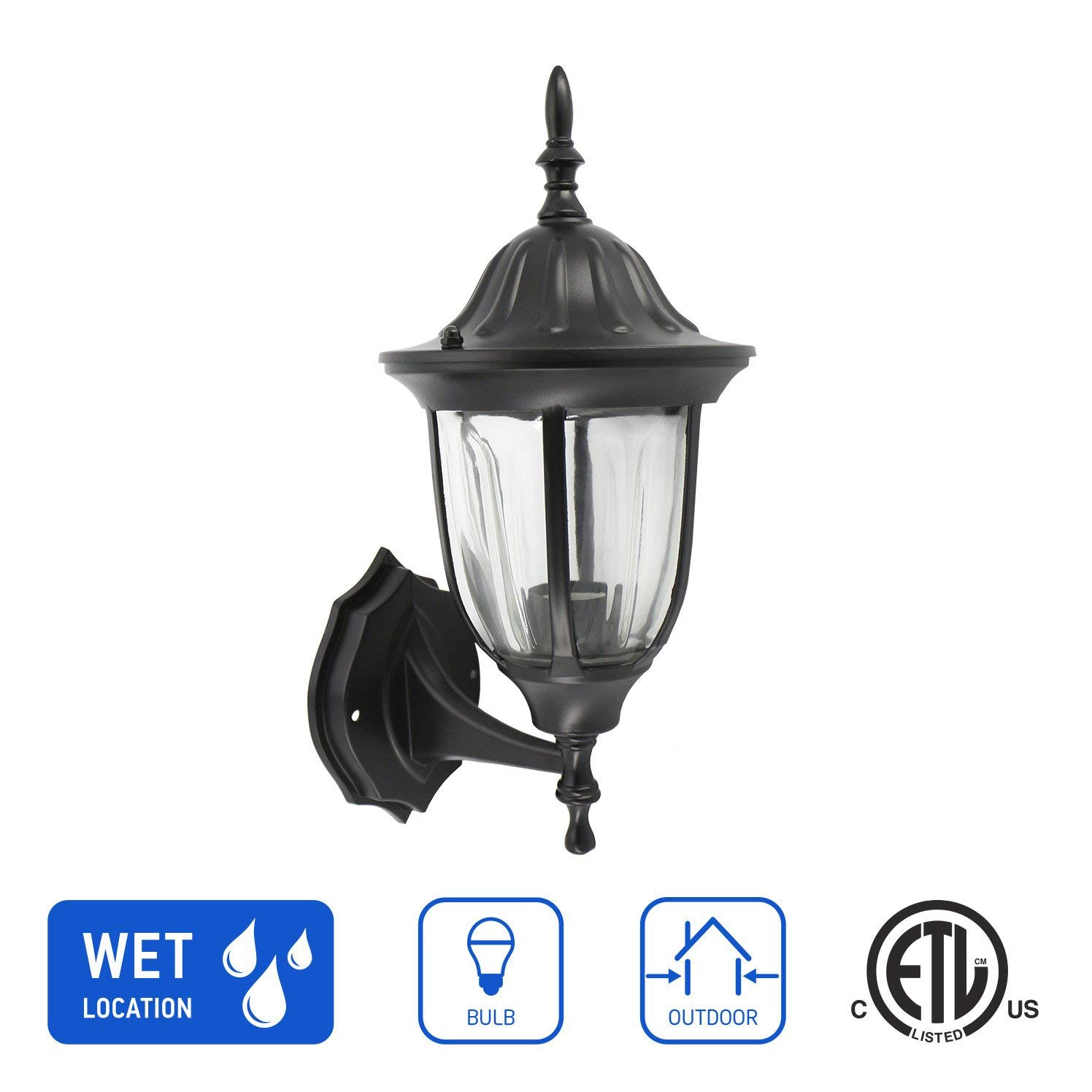 IN HOME 1-Light Outdoor Exterior Wall Up Lantern, Traditional Porch Patio Lighting Fixture L03 with One E26 Base, Water-Proof, Black Cast Aluminum Housing, Clear Glass Panels, ETL Listed