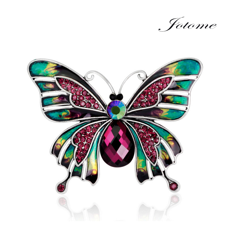 Wholesale Colorful Butterfly Animal Brooches Large Collar Pins Enamel Crystal Oil Butterfly Brooch Wedding Dress Jewelry