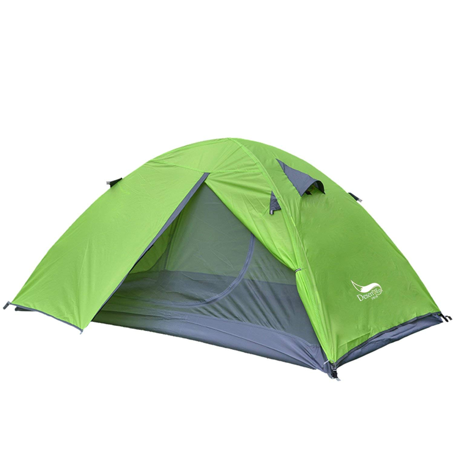 Desert&Fox Double Layers 2 Person Camping Tent Waterproof Outdoor Travel Tent with Portable Handbag