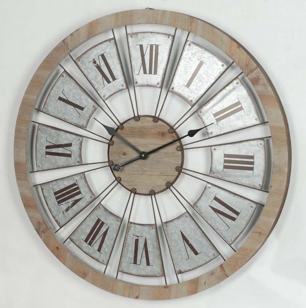 Grosse Verzinktem Retro Runde Uhr Wanduhr Holz Gesicht Design Und