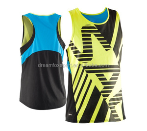 dry fit cheap custom gym tank tops, dri fit custom men's tank tops sublimated running singlets design wholesales