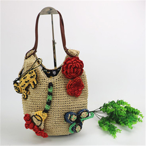 hot sale Appliques straw bag lady shoulder bags women straw beach bags