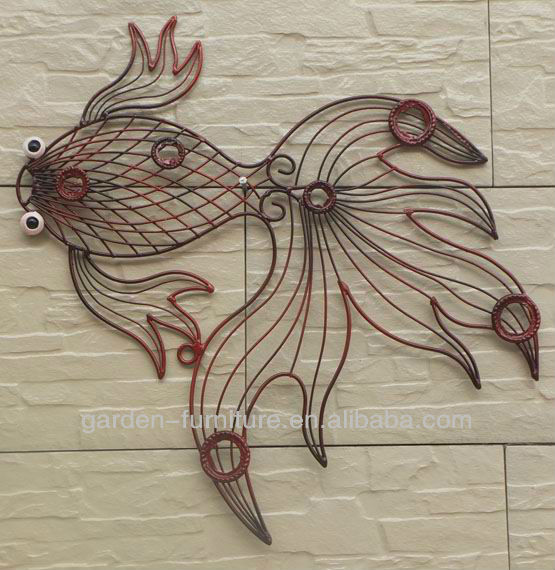 Wrought Iron Wire Animal Metal Fish Wall Art Decor - Buy Metal Fish ...