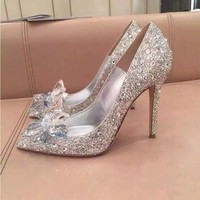ZH0403X Top Grade Cinderella Crystal Shoes Bridal Rhinestone Wedding Shoes With Flower Genuine Leather