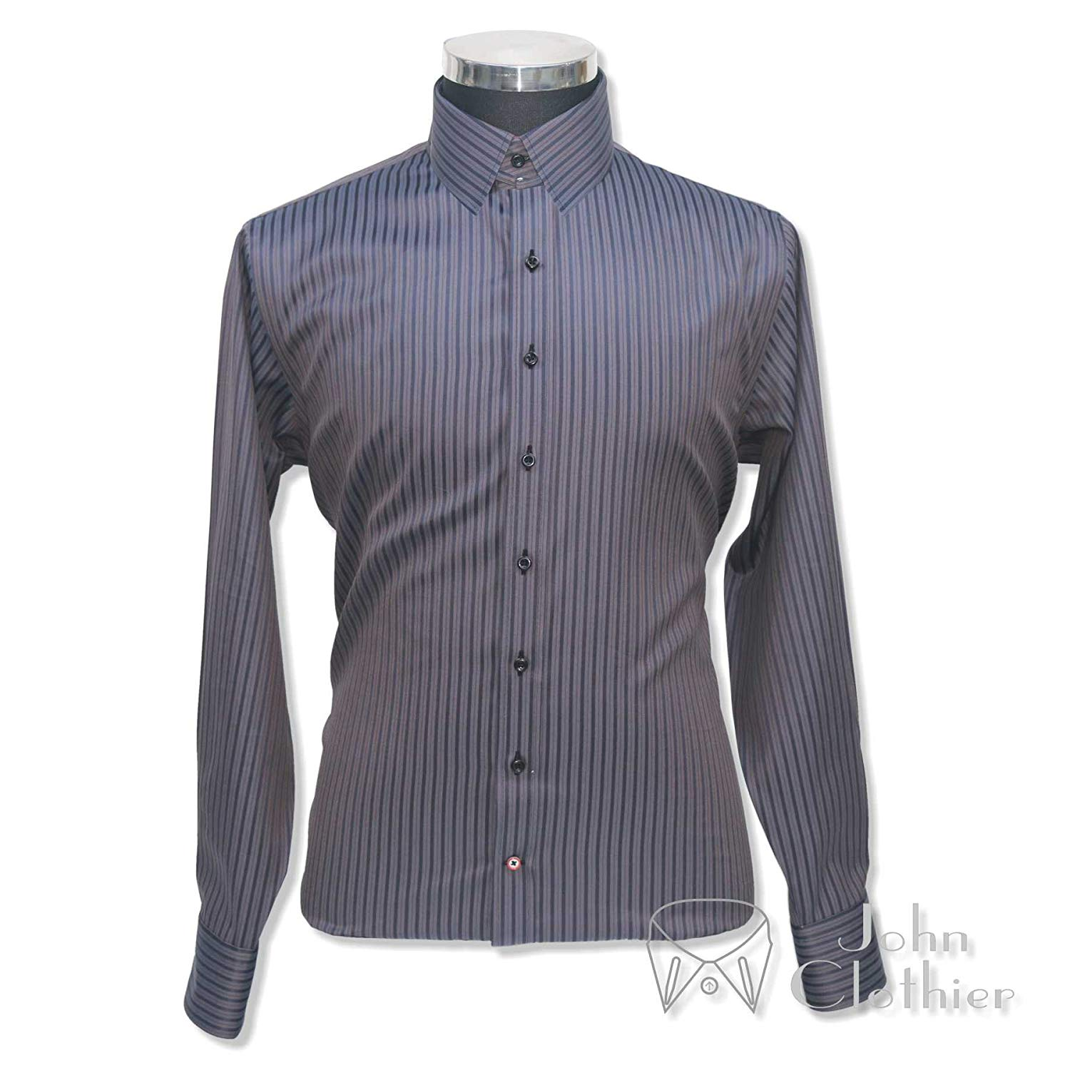 WhitePilotShirts Tab Collar Mens Bankers Shirt Navy Blue Gingham Checks 100/% Cotton Long Sleeves Single Cuff Gents 200-16