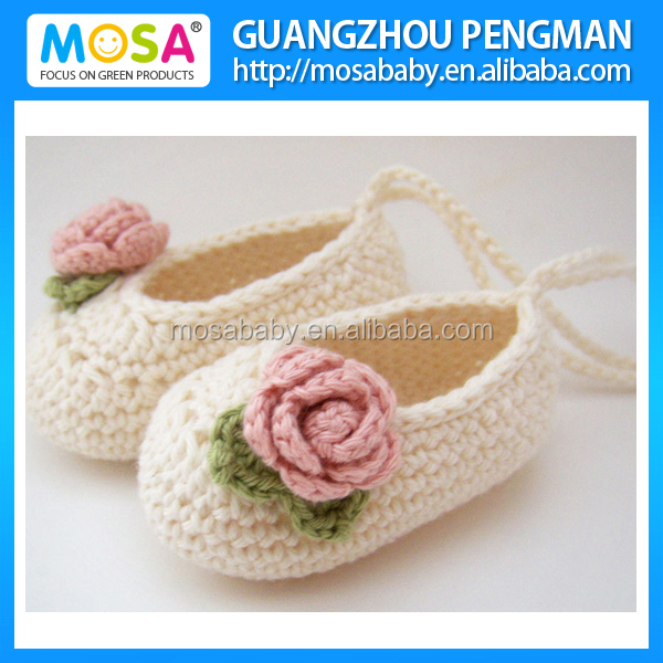 Wholesale Baby Girl Mary Jane's, baby booties, crochet shoes, Baby Girl Rose White Slippers