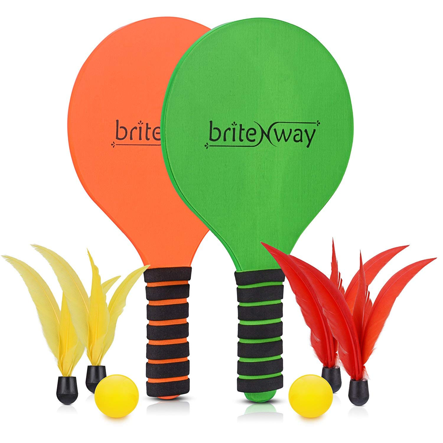 briteNway Paddle Ball Game Bundle With 2 Wooden Racket Paddles, 2 Balls, 4 Shuttlecocks & 1 Carrying Bag – Comfy Grip, Durable Craftsmanship – For Indoors & Outdoors, Beach, Backyard, Garden & More