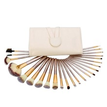 2017 Hot classic cosmetic brush set !!! professional 12 / 18/ 24 pcs Beige wooden goat hair make up wholesale makeup brushes