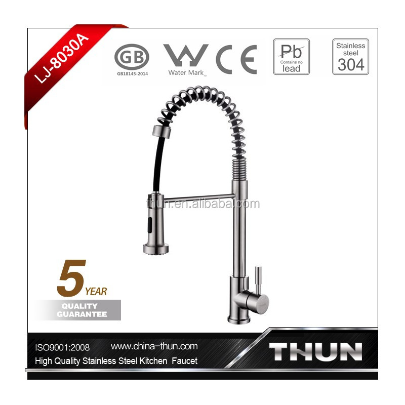 Deck mounted single lever kitchen sink faucet tap stainless steel brushed surface