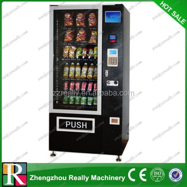 Large touch screen coin operation general merchandise vending machine food drink vending machine