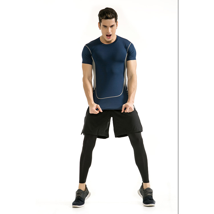 Spring and Summer New Sport Fitness Men's ElasticTraining Running Suits Tight Quick-drying Sports T-shirt Sets