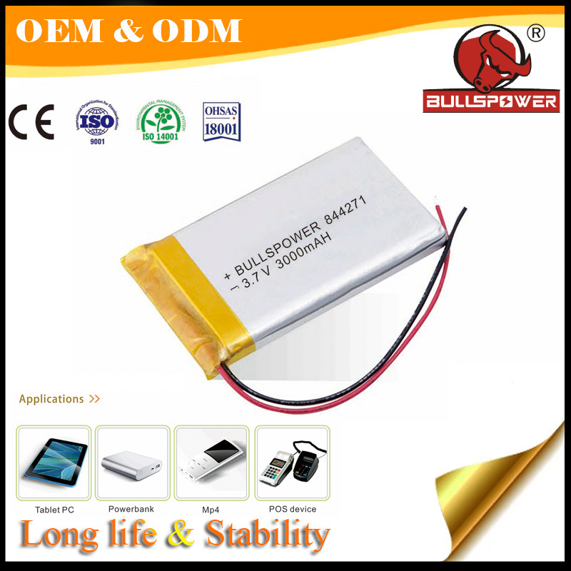Rechargeable 3.7v 3000mah flat lithium laptop bateries on hot saling