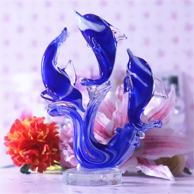 Fashion dolphin shape crystal glass home decoration