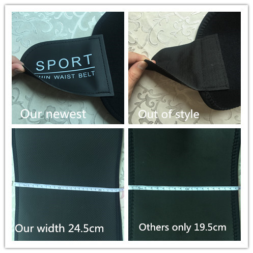 Custom logo Body fitness shape adjustable neoprene waist belt OEM Neoprene Sweat Waist Trimmer Slimming Belt