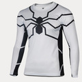 Super Thin White Spider Man Long Sleeve Shirt 3D Cutting UV Resist T shirt Lycra Sports