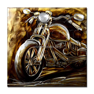 Rustic 3D Metal Motorcycle Wall Art for Home Decor
