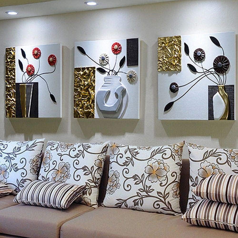 DIDIDD Modern Simple Living Room Sofa Background Wall Decoration Painting European Three-Dimensional Relief Painting Three Painting Murals Bedroom Painting