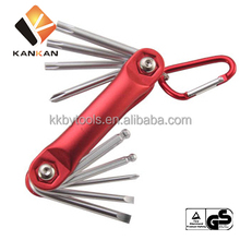 9pcs CR-V Folding Hex Key Set /small Wrench set