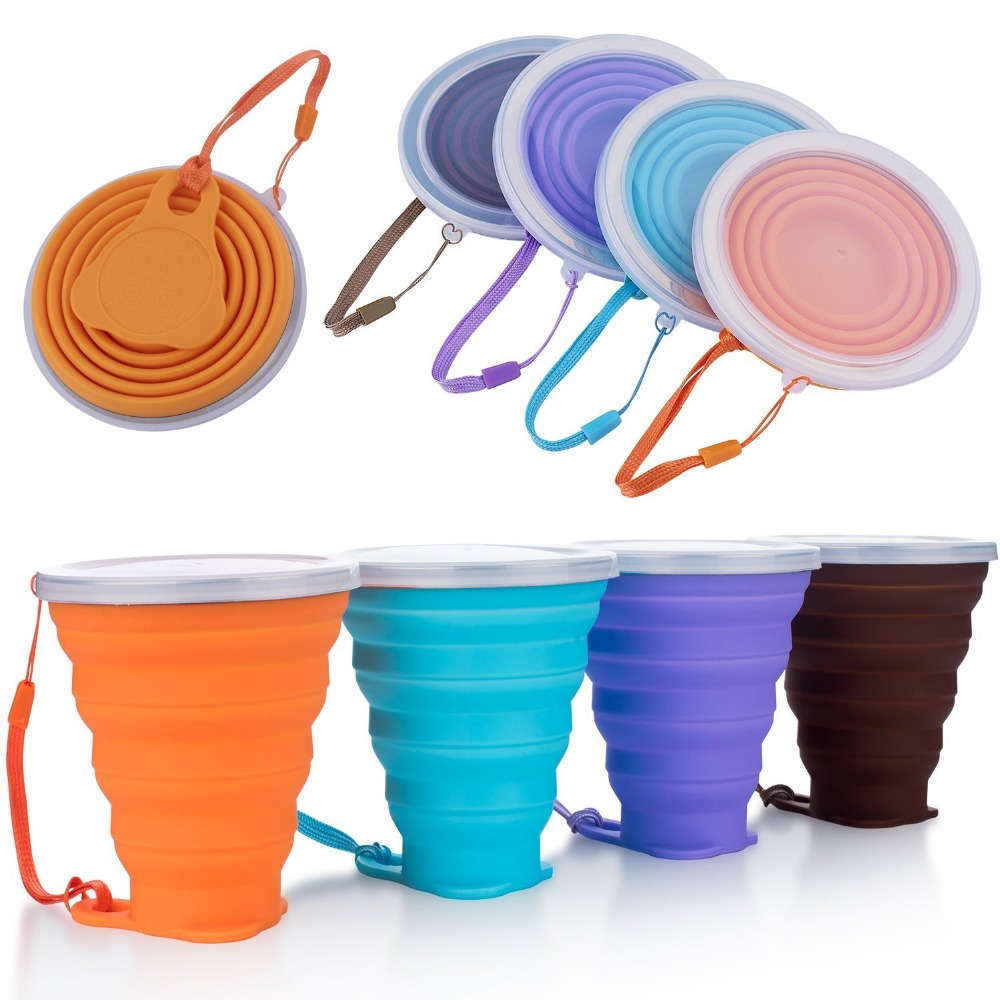 Silicone collapsible travel <strong>cup</strong>,folding camping <strong>cup</strong> with lids measuring drinking foldable coffee mug 270ml capacity