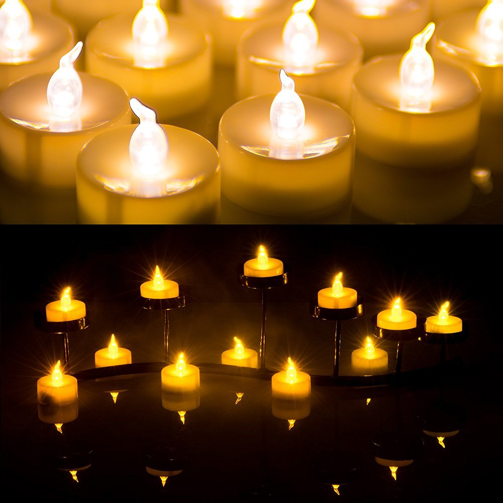 AGPtek LED Tealight Candles Battery Operated Flameless smokeless 60 PCS for Wedding/Party Decorations Amber yellow five Dozens-pack