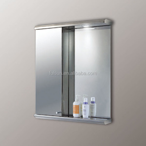 Modern Wall Mounted Illuminated Stainless Steel Living Room Hanging Mirror Cabinet with Light Design