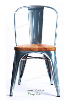 Triumph french style Lyon vintage industrial metal frame restaurant chair wood