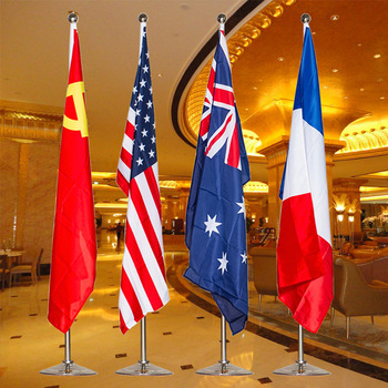 Customized Indoor Standing Floor Office Flags With Base Flagpole