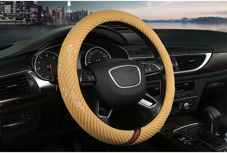 FX-B-016 15 inch black and yellow cloth fabric steering wheel cover