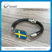 New products 2016 luxury Sweden flag leather bracelet