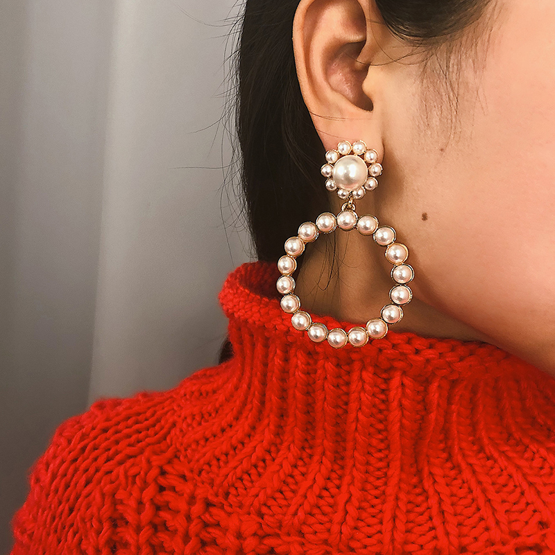 Fashion Simulated Pearl Drop Earrings Elegant Jewelry 2019 Korean Round Circle Large Dangle Earring For Women (KER181, Same as the picture