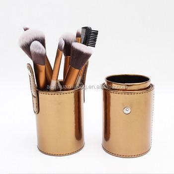Gold Color 12pcs Makeup Brush Set Cylinder Cup Holder Case