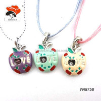 gorgeous novelty engraved love enamel metal apple shaped pendant necklace