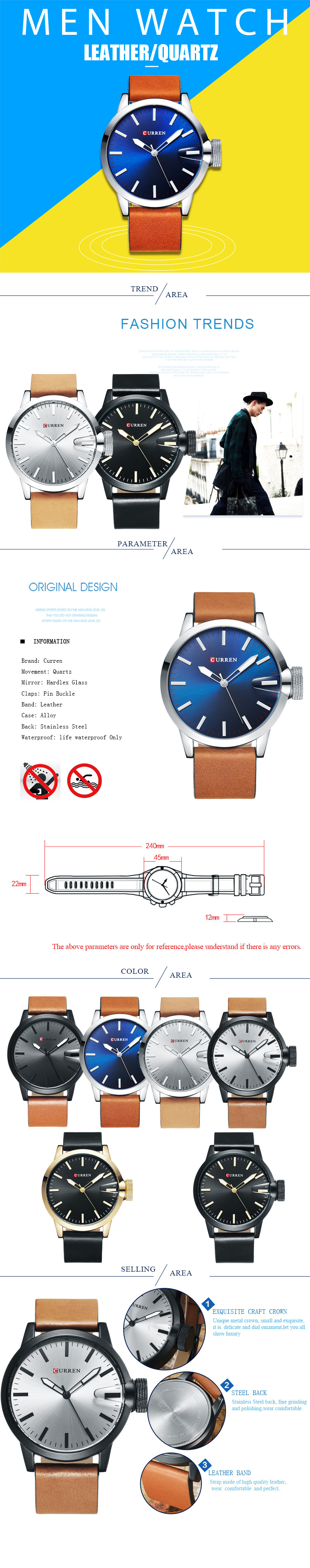 curren leather strap watch
