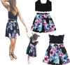 2019 new sleeveless black sling and printed pleated skirt mommy and me dress
