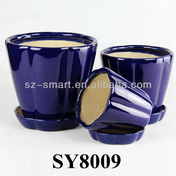 Avec Soucoupe Bleu Royal Pot En Ceramique Pots De Fleurs Vitrage