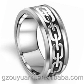 Tungsten Ring, New Tungsten Ring with Silver Chain Inlay