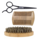 3Pcs/set Boar Bristle Men's Shaving Brush Beard Comb and Scissor Kit With Customized Logo