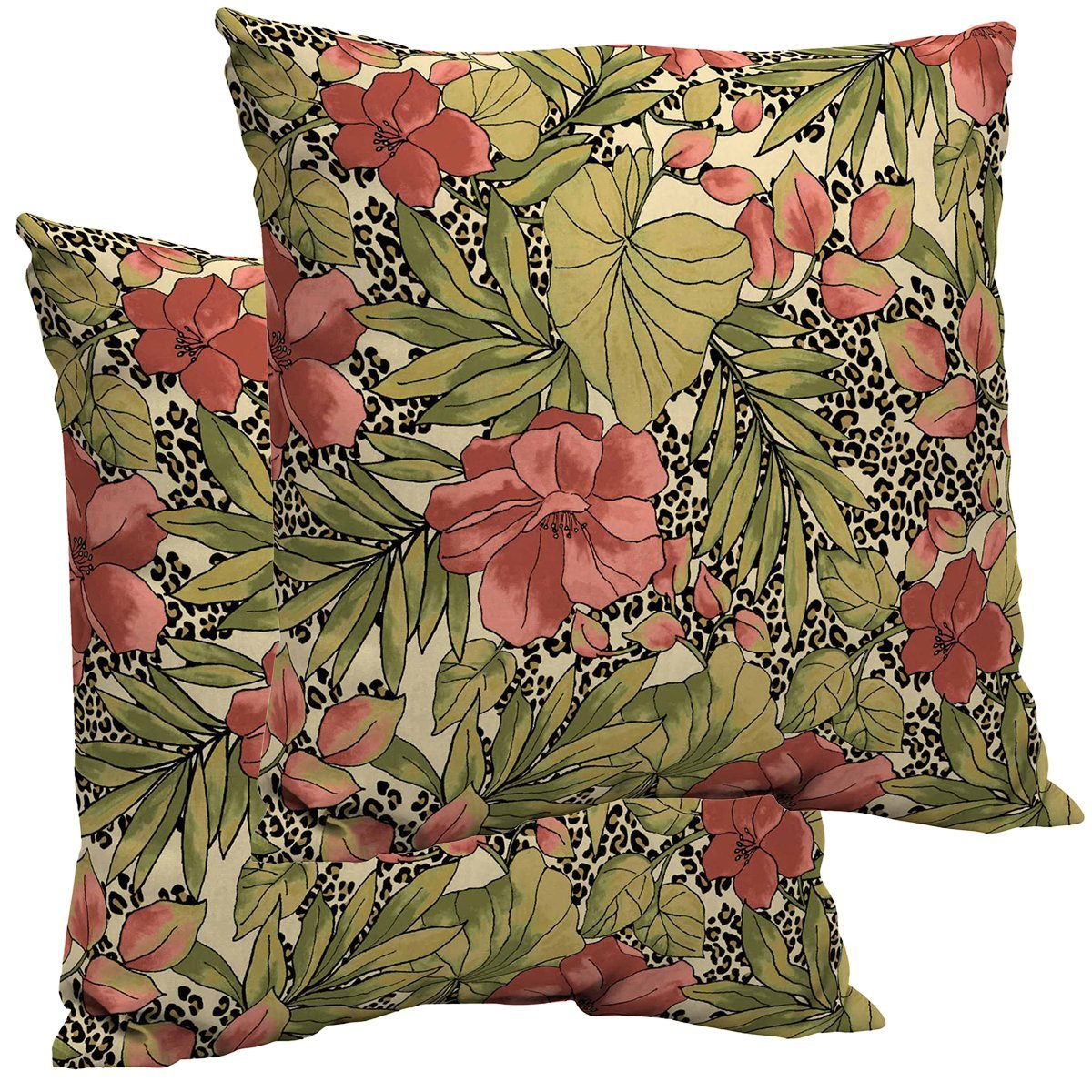 Comfort Classics Inc. SET OF 2 Outdoor Patio Dining Chair Pillow Back 21x21x5. Polyester fabric Jungle Floral