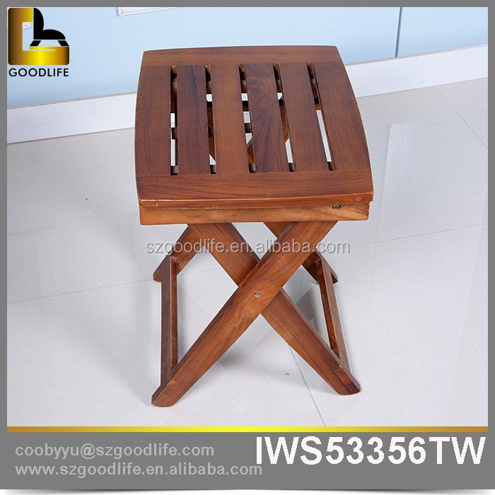 Factory wholesale garden wooden portable folding foot stool outdoor