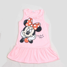 Hot Sale New 2016 Kids Girls Dress Cute Cartoon Clothes 2 Colors of Red and Pink