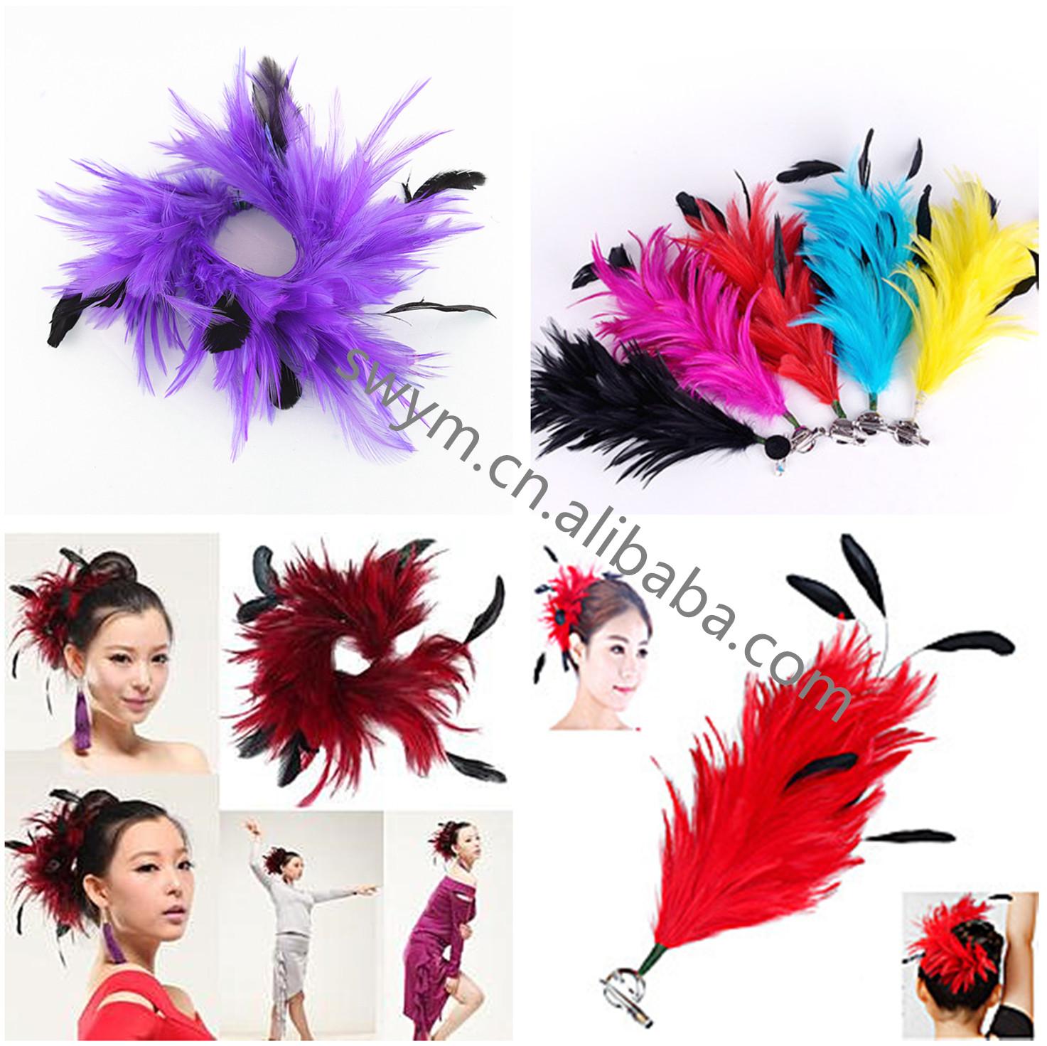 フクシアフェザー花輪染めガチョウ Boit 羽花工場供給女の子のフェザーヘッドバンドパーティーダンス