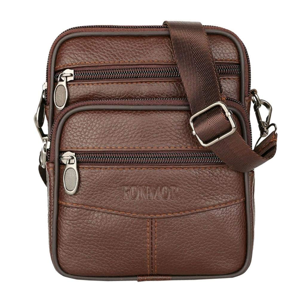 49a8d89261 Get Quotations · Sunshinehomely Fashion Mens Pure Color Leather Business  Crossbody Bags Shoulder Bag Waist Bag