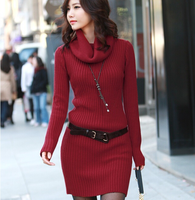 W91900A 2016 latest design ladies sweater ladies winter long sweater dress  slim sweater