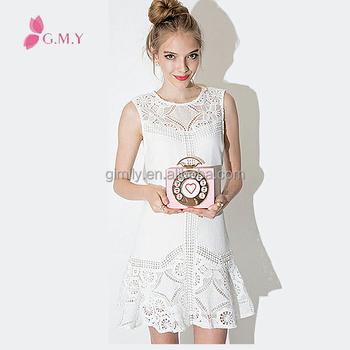 72f50aea De moda sin mangas de encaje blanco Vestidos cortos para los adolescentes