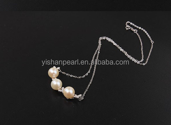 wholesale 925 silver pendant 3 freshwater pearls 7-8mm with AAA grade as beautiful birthday gifts