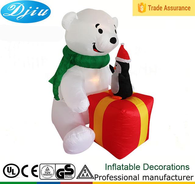 source dj xt 135 inflatable polar bear with penguin present costume christmas decoration statue garden furniture on malibabacom - Polar Bear Inflatable Christmas Decorations