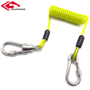 Custom Elastic Tether Heavy Duty Coil Lanyard with Carabiner Hook for Outdoor