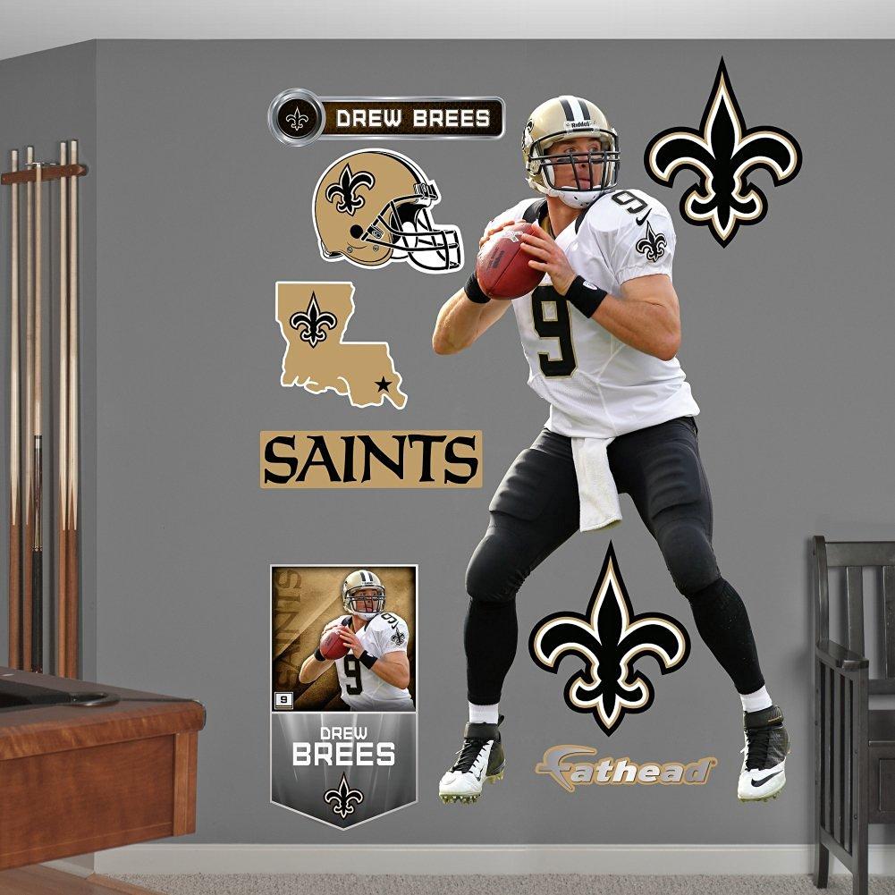 31909d850 Get Quotations · Fathead NFL New Orleans Saints Drew Brees No. 9 Wall Decal
